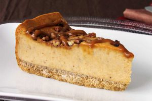 Pumpkin Caramel Praline Cheesecake slice